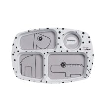 happy dots compartment plate grey